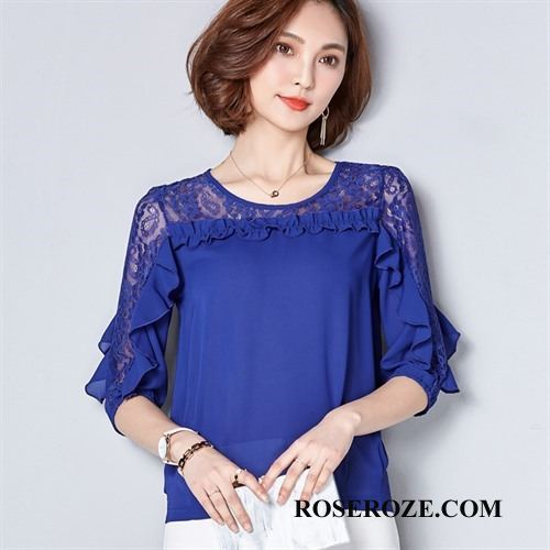 Blouses Dames 2018 Elegante Trend Kant Pullover Chiffon Blauw