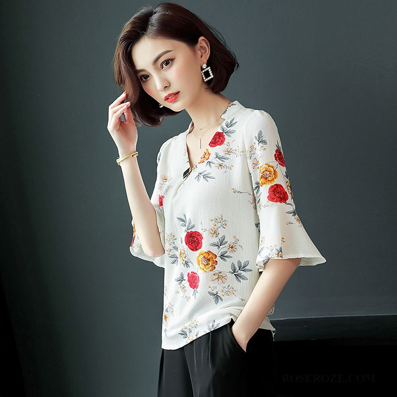 Blouses Dames Dunne Chiffon Slim Fit Straat Zomer Trend Wit