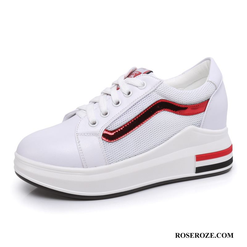 Casual Schoenen Dames Plateauzool Sport Mode Kant Trend Slip On Rood Wit