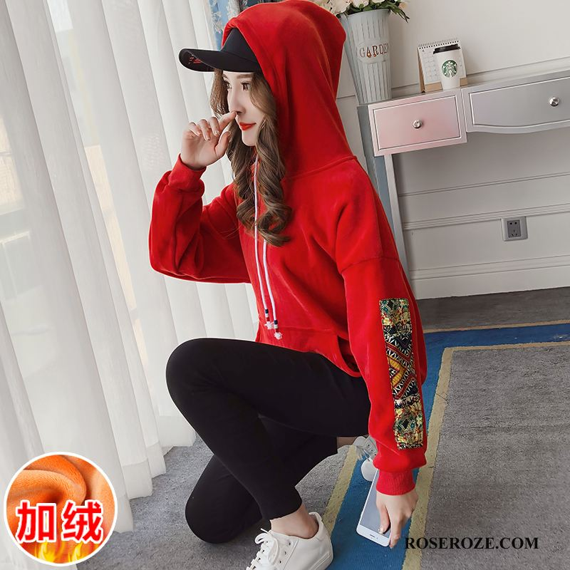 Hoodies Dames Plus Kasjmier 2018 Winter Losse Pullover Mouw Rood
