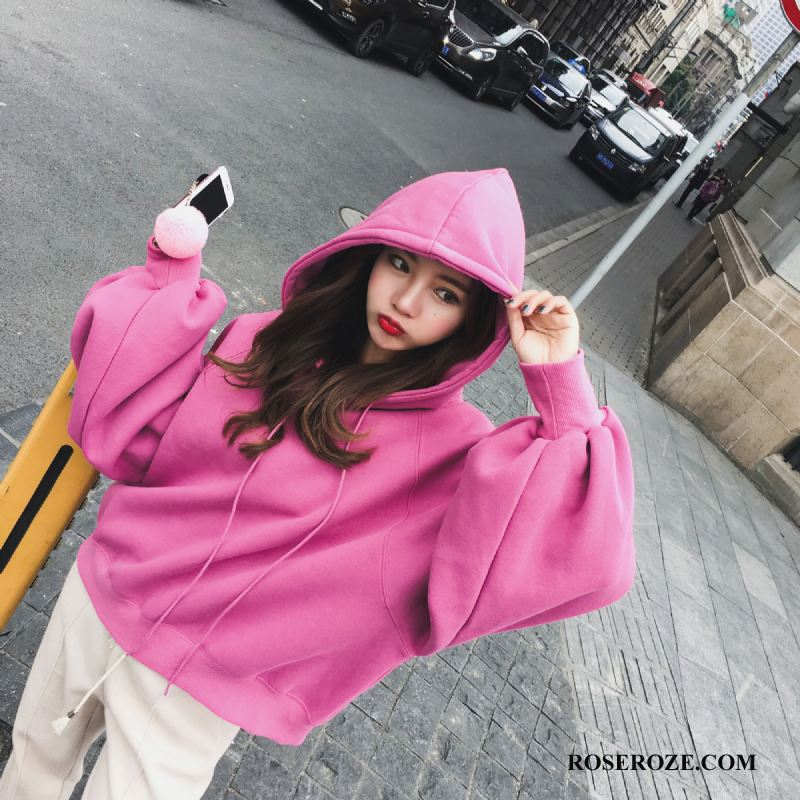 Hoodies Dames Slim Fit Herfst Trend Elegante Mode 2018 Roze Rood
