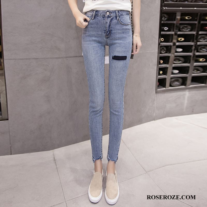 Jeans Dames Hoge Taille Verbinding Mode Casual Zak Zomer Blauw