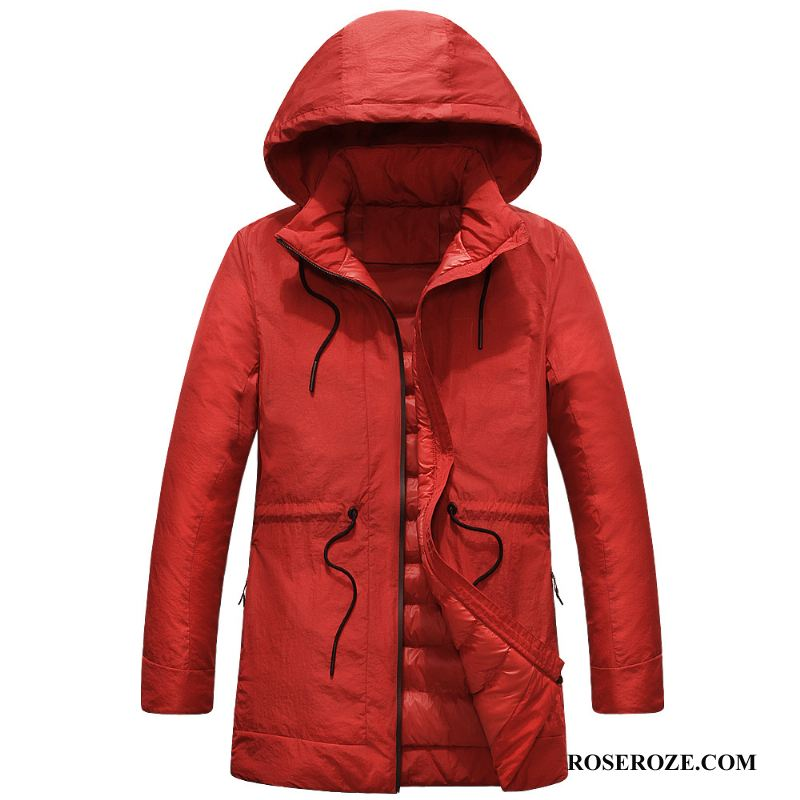 Katoenen Jas Heren Lang Winter Mannen Lovers Lichte Outdoor Bordeauxrood