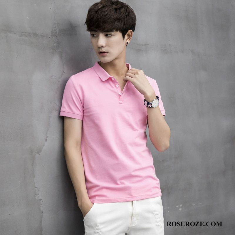 Polo Heren Revers Casual Mode Roze Rood Effen Kleur