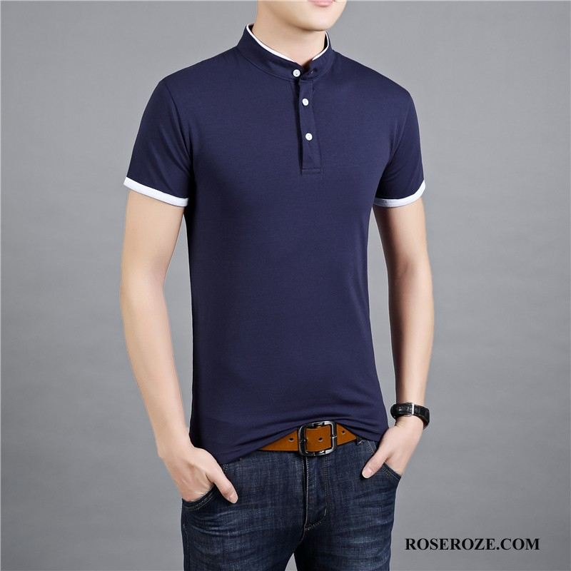 Polo Heren Stad Slim Fit Trend Donkerblauw