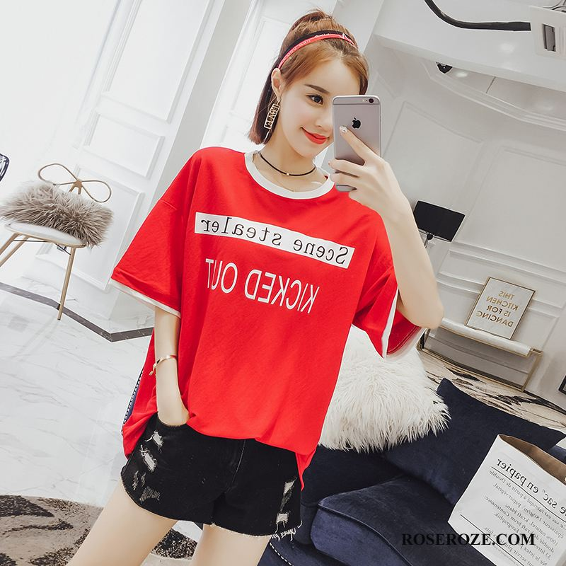 T-shirt Dames Casual Stad Letter Ronde Hals Losse 2018 Rood