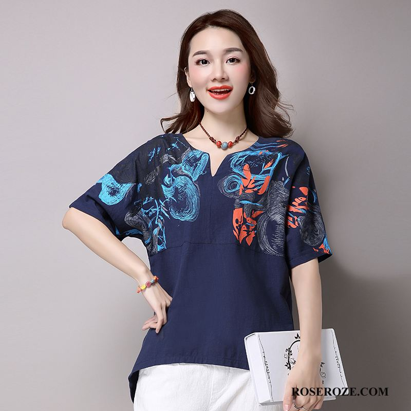 T-shirt Dames Trend Mouw Zomer Plant 2018 Mode Marineblauw