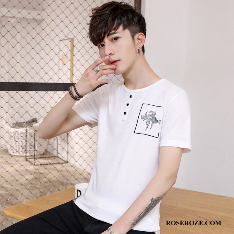 T-shirt Heren Casual Mannen Slim Fit Korte Mouw Mode Wit Licht Bruin