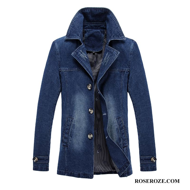 Trenchcoat Heren Denim Blauw