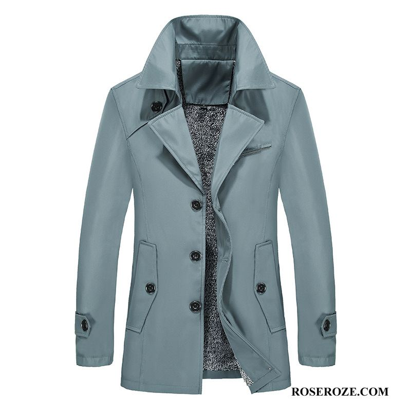 Trenchcoat Heren Winter Plus Kasjmier Slim Fit Mannen Jas Grote Maten Blauw